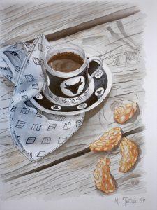 """Πίνακες ζωγραφικής - Ακουαρέλες """"Πρωϊνός_καφές"""""""