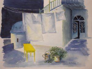 """Πίνακες ζωγραφικής - Ακουαρέλες """"Το_κίτρινο_τραπέζι"""""""